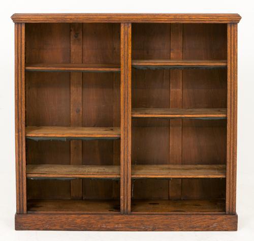 Victorian Oak Double Open Bookcase (1 of 1)