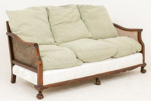 Mahogany Caned Settee of Chippendale Form (1 of 1)