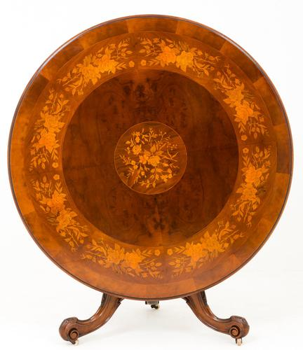 Superb Victorian Walnut & Marquetry Centre Table (1 of 10)