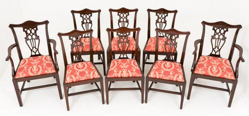 Set of 8 Mahogany Chippendale Style Dining Chairs (1 of 1)