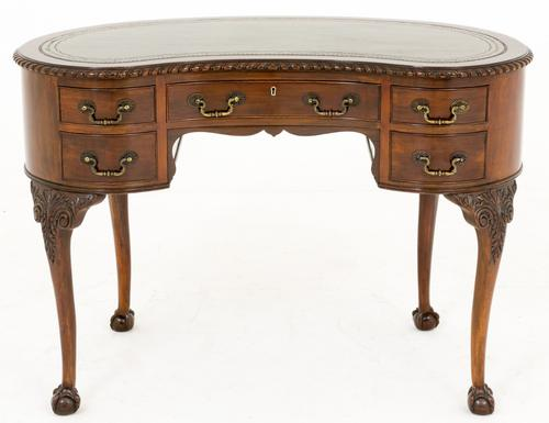 Mahogany Chippendale Style Kidney Shaped Writing Desk / Table (1 of 1)