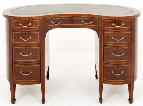 Spectacular Victorian Plum Pudding Mahogany Kidney Shaped Desk (1 of 1)