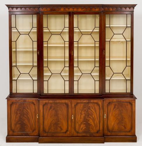 Mahogany Georgian Style Breakfront Bookcase (1 of 1)