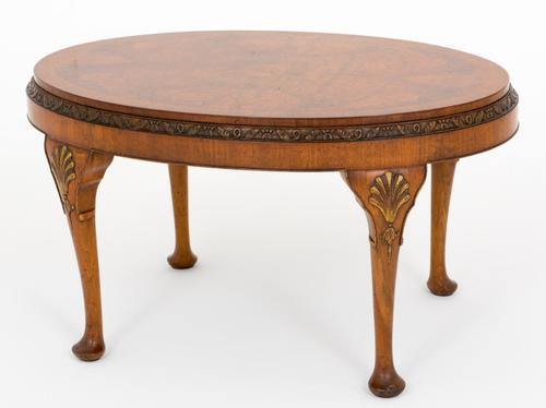 Good Quality Burr Walnut Oval Coffee Table c.1920 (1 of 1)