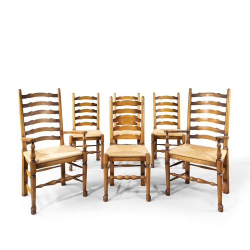 Very Sturdy Set Mid 20th Century of 6 Ladderback Country Chairs (1 of 7)