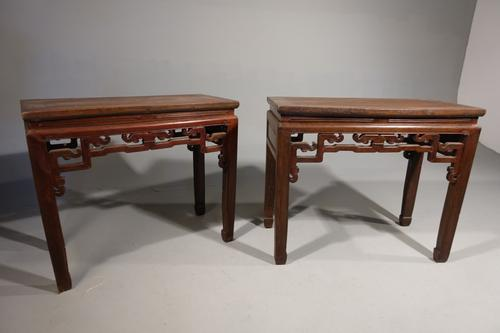 Early 20th Century Pair of Strongly Designed Elm Half Tables (1 of 6)