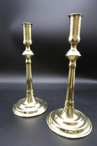 Attractive Pair of Mid 18th Century Brass Candlesticks (1 of 6)