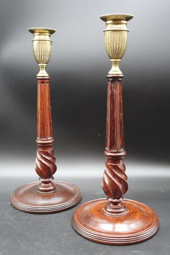 Fine Pair of George III Period Mahogany & Brass Candlesticks (1 of 8)