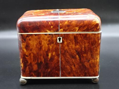 Good Regency Period Tortoiseshell Tea Caddy (1 of 7)