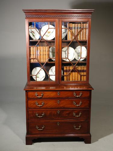 Small Chippendale Period Glazed Bookcase on Chest (1 of 10)