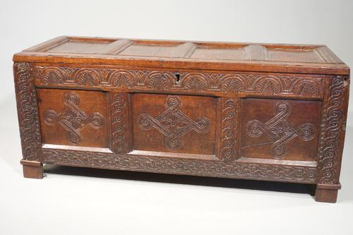 Large & Well Carved 17th Century Four Panelled Coffer (1 of 7)
