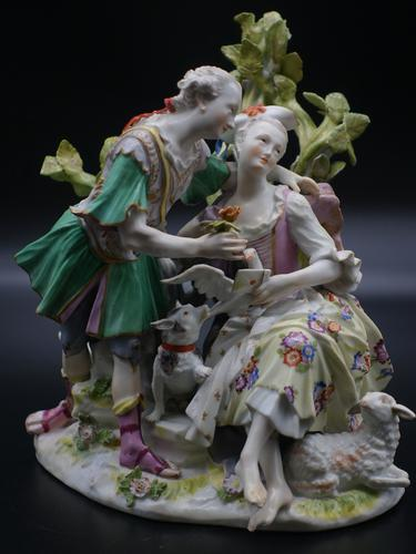 Complex Late 19th Century Meissen Group of Lovers (1 of 6)