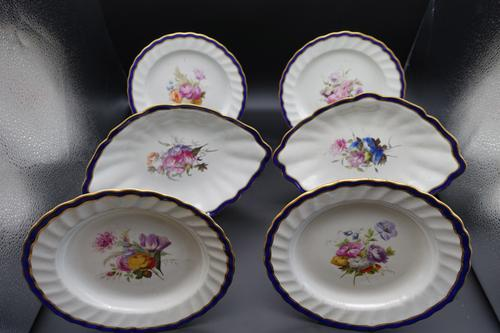 Fine Set of 6 Late 18th Century Derby Plates Painted by William Billingsley (1 of 15)