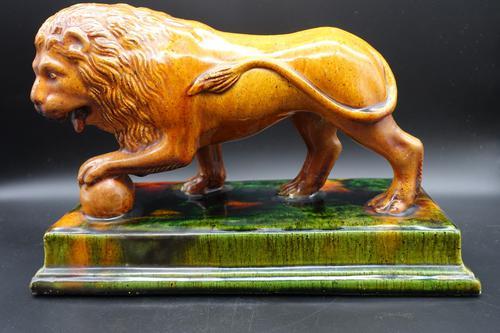 Late 19th Century Staffordshire Figure of Le Lion Qui Marche (1 of 5)