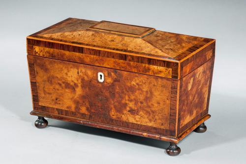 Regency Period Burr Yew Shaped Box (1 of 4)