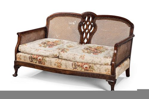 Early 20th Century Mahogany Framed Bergere Sofa c.1920 (1 of 1)