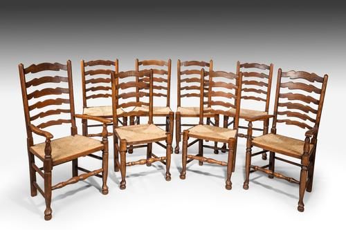 Set of 8 late 19th Century Ladderback Chairs (1 of 1)