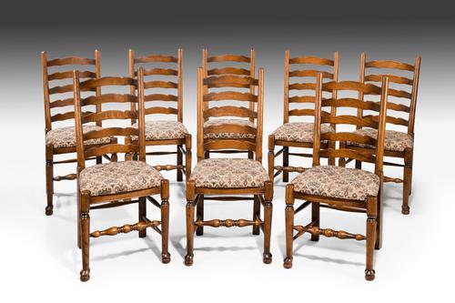 Set of 8 20th Century Oak Ladder Back Single Chairs c.1900 (1 of 1)