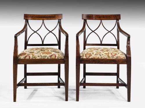 Pair of George III Period Mahogany Elbow Chairs (1 of 1)