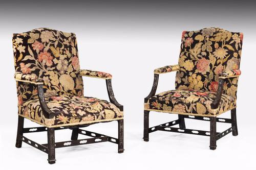 "Pair of Chippendale ""style"" Mahogany Gainsborough Chairs c.1900 (1 of 1)"