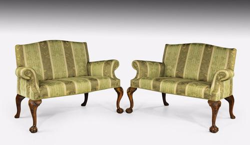 "Pair of George II ""style"" Walnut Sofas c.1900 (1 of 1)"