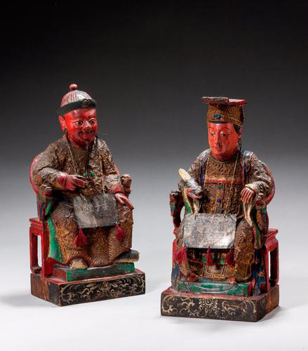 Pair of Polychrome 18th Century Seated Chinese Figures (1 of 4)