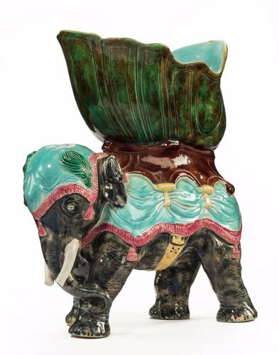 Late 19th Century Majolica Pottery Elephant Caparisoned with a Jardinière (1 of 8)