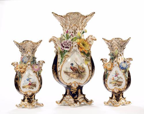 Late 19th Century Trio of Coalbrookdale Vases (1 of 8)