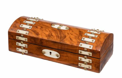 Mid 19th Century Well Figured Walnut Dome Topped Casket (1 of 1)