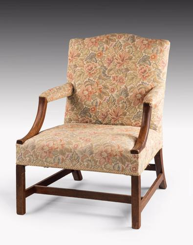 George III Period Mahogany Gainsborough Armchair with Strong Square Supports (1 of 1)
