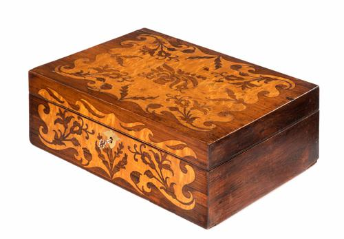 Mid 19th Century Rosewood Box with Elaborate Satinwood Marquetry Inlay (1 of 1)