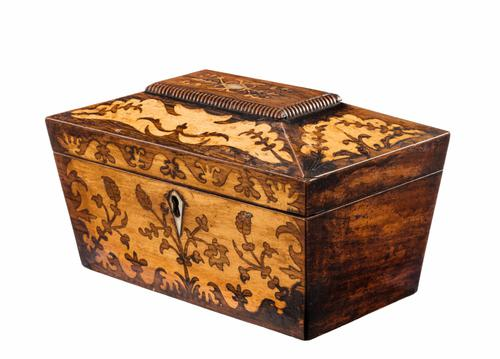 Regency Period Rosewood & Satinwood Marquetry Inlaid Caddy (1 of 1)