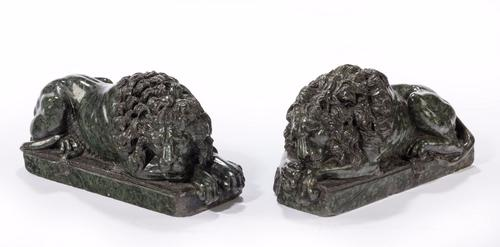 Pair of Late 19th Century Serpentine Desk Lions (1 of 1)