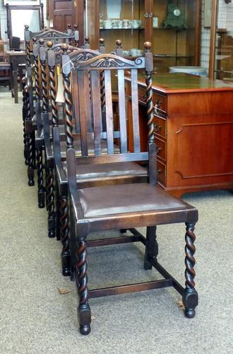 6 Oak Dining Chairs c.1920 (1 of 1)