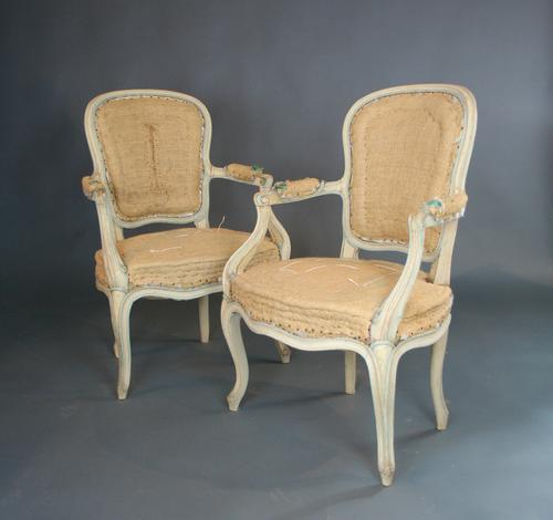 Pair of Painted Fauteuil Chairs c.1880 (1 of 1)