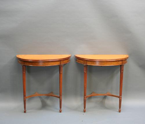Pair of Edwardian Satinwood Console Pier Tables (1 of 1)