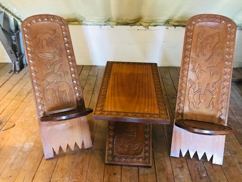 African Coffee Table & Chairs (1 of 10)