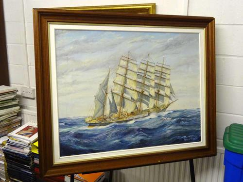 the Four Masted Barque Moshulu, Oil On Canvas Painting, Norman Colebourne, Mid 20th Century (1 of 1)