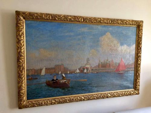 Southport Marine Lake, Oil On Canvas Painting, Philip Thomson Gilchrist C.1904 (1 of 5)
