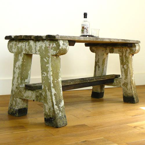 Delightfully Aged 1930s Concrete & Wood Garden Bench Table (1 of 8)