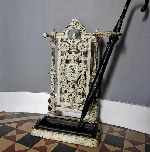 Victorian Cast Iron Stick Hall Stand Untouched Condition (1 of 13)