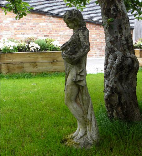Attractively Aged Garden Statue Maiden with Wine Jugs (1 of 9)