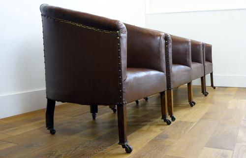 Classic Vintage Edwardian Oak Rexine Club Tub Chairs c.1910 'we have 4' (1 of 1)