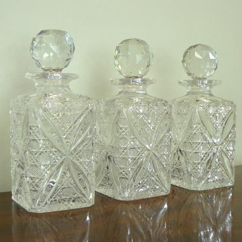 Set of 3 English Cut Glass Spirit Decanters c.1915 (1 of 10)