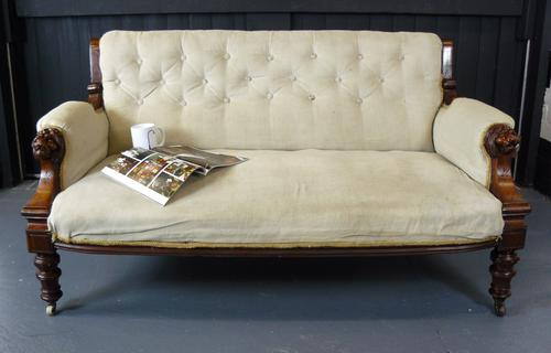 Victorian Antique Mahogany Framed Two Seater Sofa With Lions Head Arms (1 of 1)