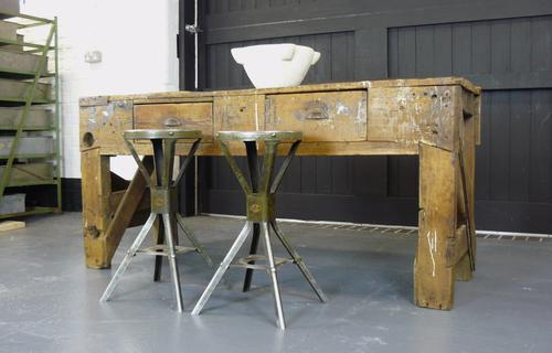 Robust 1920s Work Table Bench from a Lancashire Workshop (1 of 1)