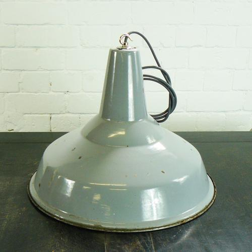 Large Grey Vintage Enamel Factory Lampshade Rewired & Ready to go (1 of 4)