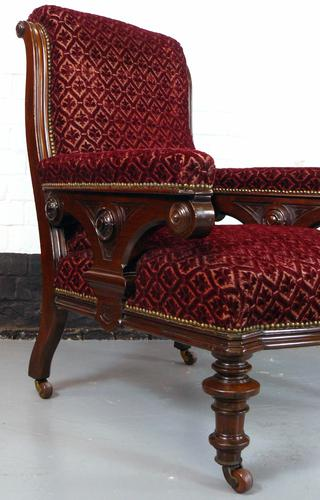 Handsome Late 19th Century Gothic Revival Armchair / Library Chair (1 of 1)