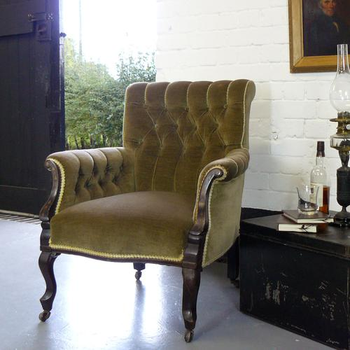 Stylish Victorian Armchair Buttoned, Roped, Scrolled Back & Inlaid Arms (1 of 1)