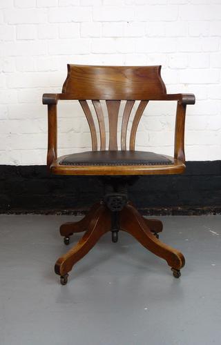 English Swivel Oak Office Chair C.1920 (1 of 1)